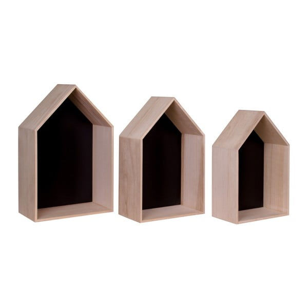 Verona 3 db barna fapolc - House Nordic