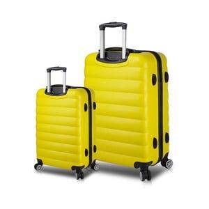 Sada 2 žlutých cestovních kufrů na kolečkách s USB porty My Valice RESSNO Cabin & Large