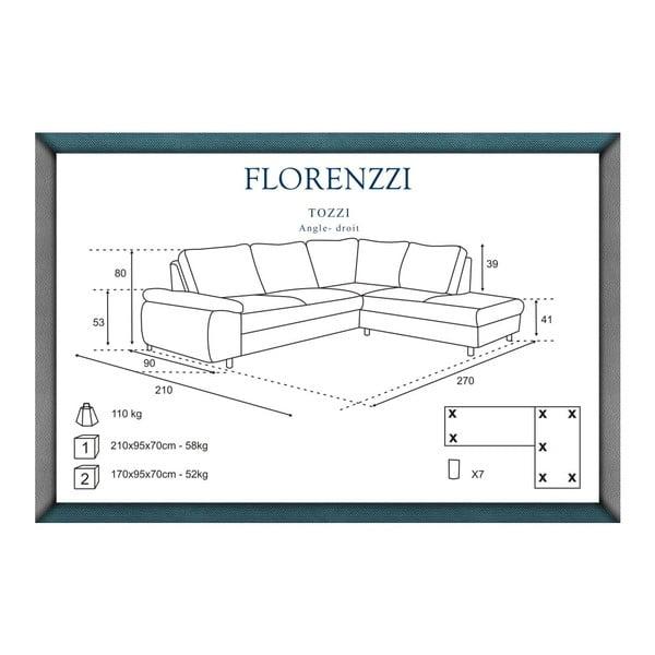 Světle šedá pohovka Florenzzi Tozzi s lenoškou na pravé straně