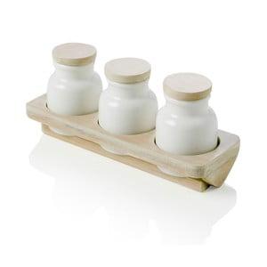 Set 3 recipiente din porțelan pentru condimente cu tavă de bambus Hermetic