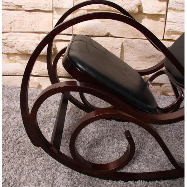 Houpací židle Shabby, hnědá s černým polstrováním