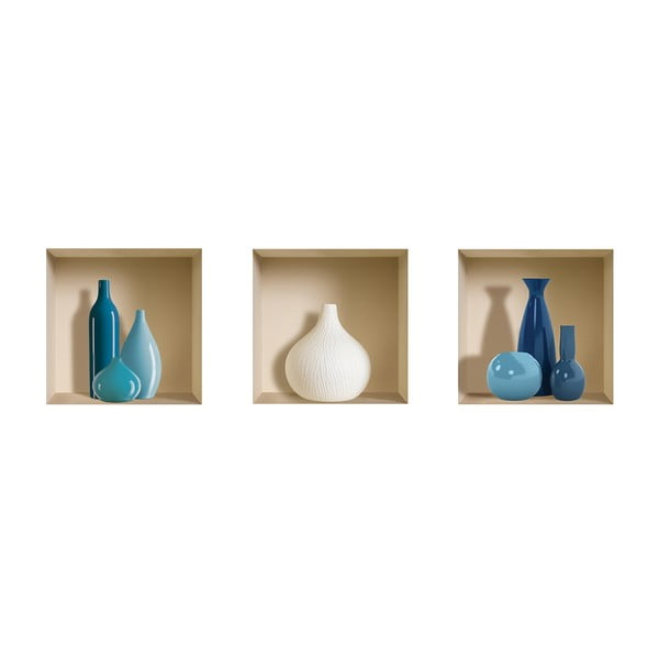3D samolepky na zeď Nisha Blue&White Pot