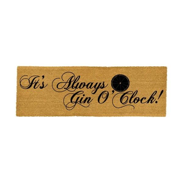 Rohožka z přírodního kokosového vlákna Artsy Doormats It's Always Gin O'Clock, 40x120cm