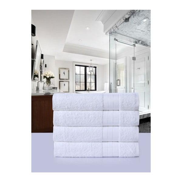 Sada 4 bílých bavlněných ručníků Uni, 50 x 100 cm