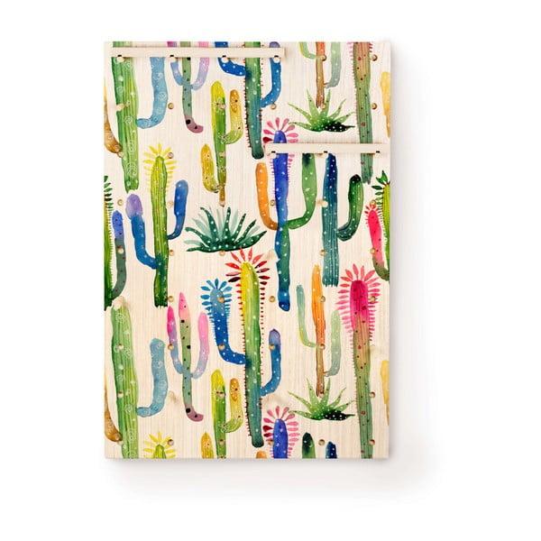 Nástěnka s poličkami z borovicového dřeva Surdic Pegboard Watercolor Cactus