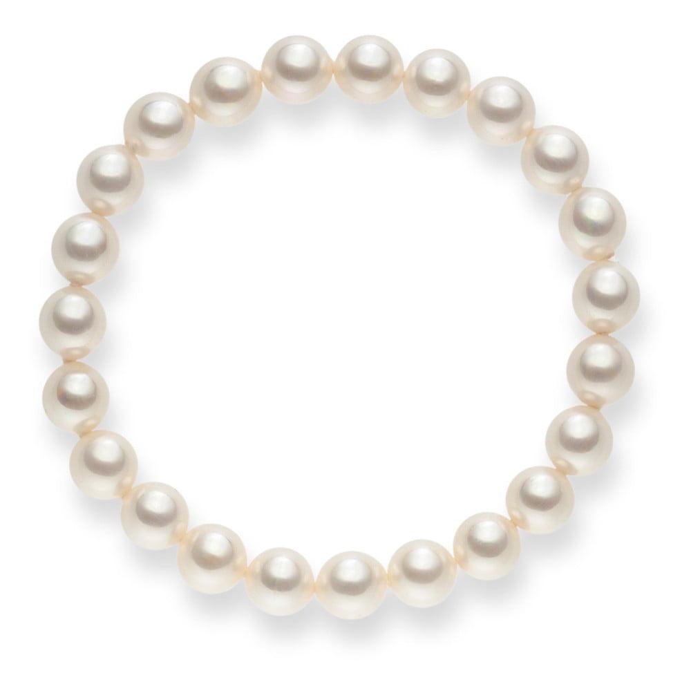 Bílý perlový náramek Pearls of London Mystic, délka 19 cm