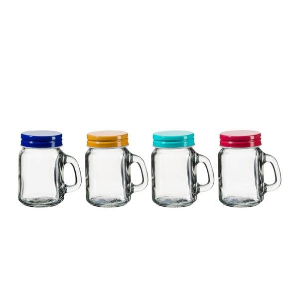 Sada 4 sklenic s barevným víčkem SUMMER FUN II BUNT, 120ml