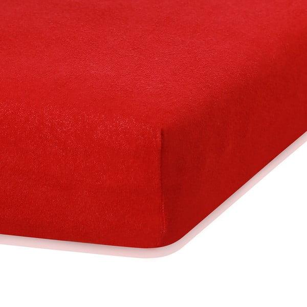 Czerwone prześcieradło elastyczne z dużym dodatkiem bawełny AmeliaHome Ruby, 200x120-140 cm