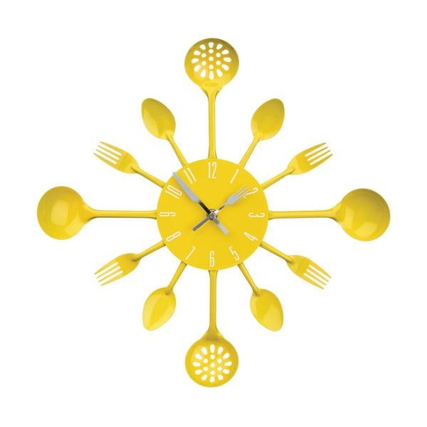 Nástěnné hodiny Yellow Cutlery, 43 cm