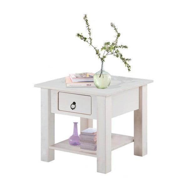Biały stolik nocny z drewna sosnowego Støraa Klein