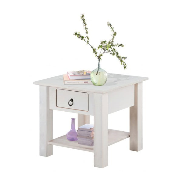 Bílý noční stolek z borovicového dřeva Støraa Klein