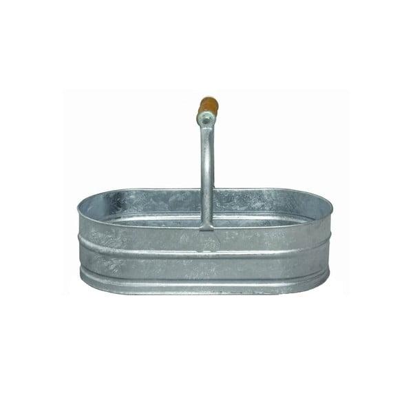 Kovová oválná nádoba se dřevěným madlem, 4 l