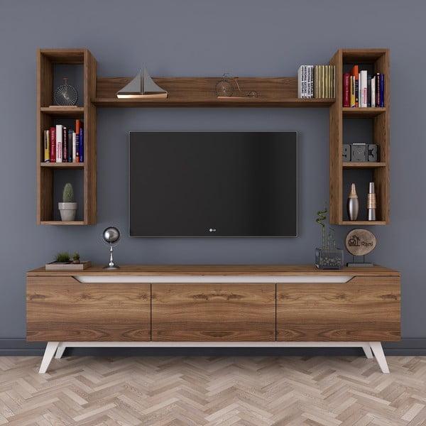Set TV stolku a 3 nástěnných polic v dřevěném dekoru Wren