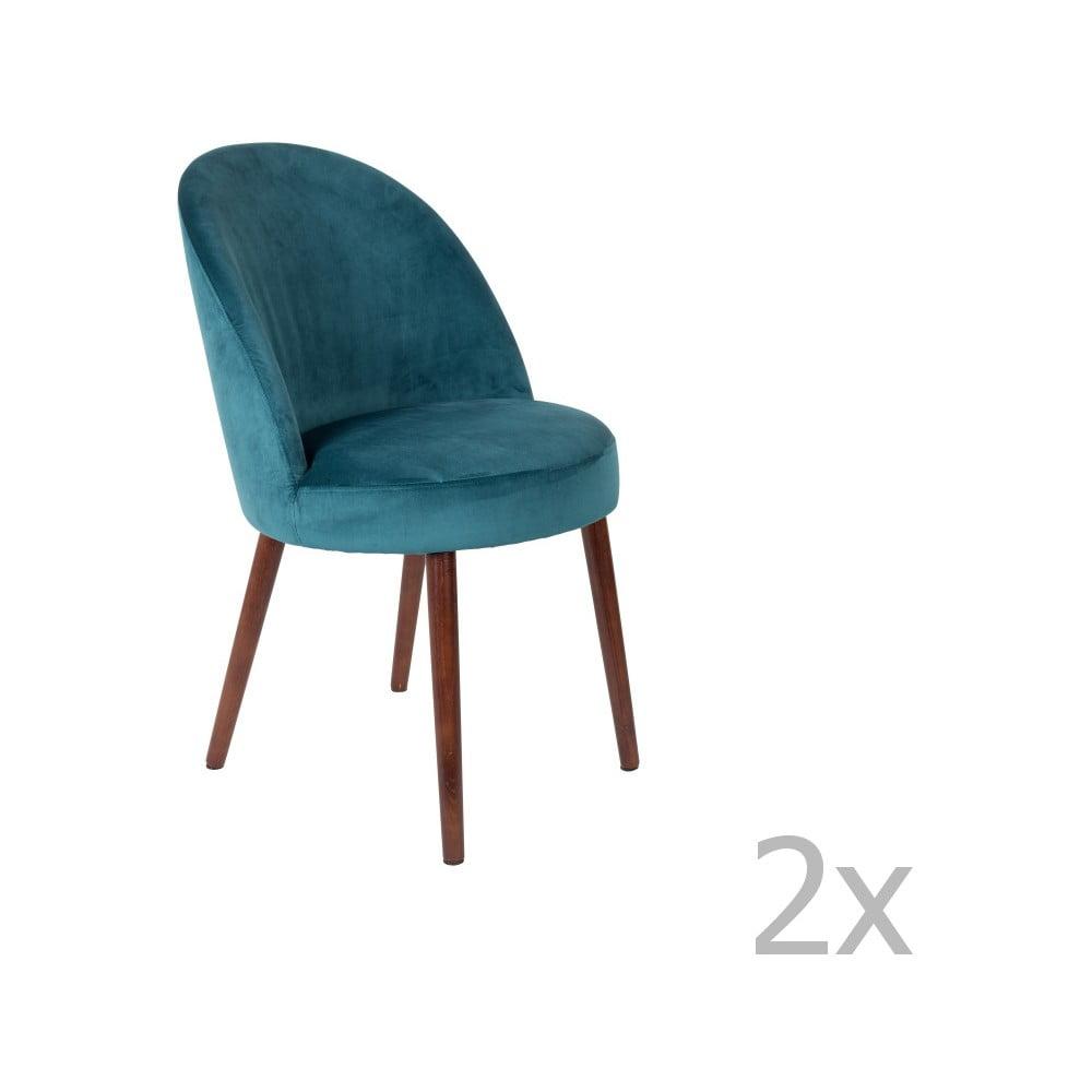 Sada 2 petrolejově modrých židlí Dutchbone Barbara