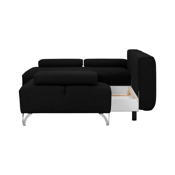 Černá rohová rozkládací pohovka Windsor & Co Sofas Virgo, levý roh