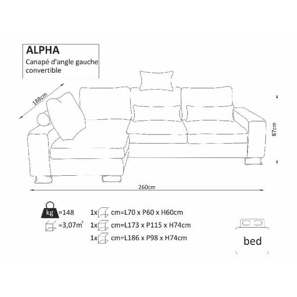 Černá rohová rozkládací pohovka Windsor & Co Sofas, levý roh Alpha