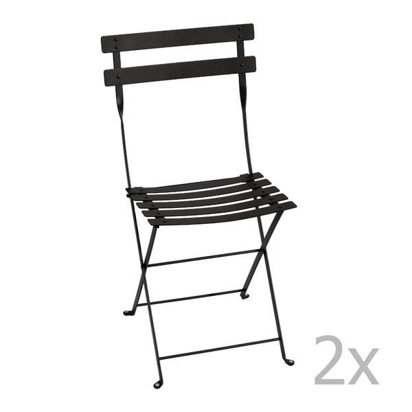 Sada 2 černých  skládacích židlí Fermob Bistro