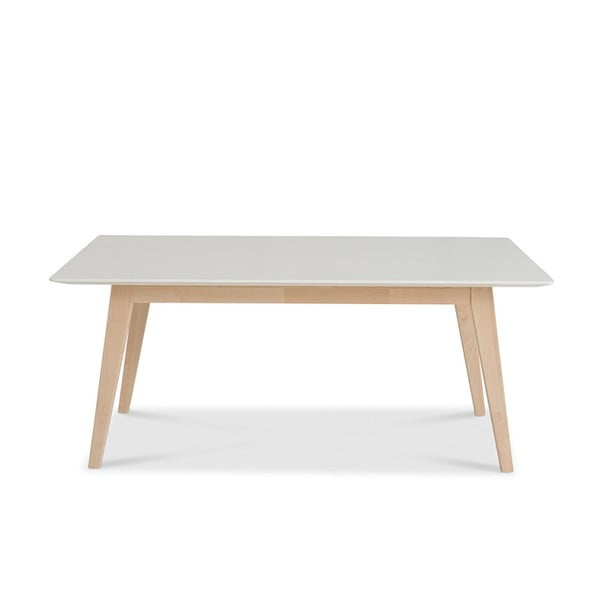 Biely ručne vyrobený konferenčný stolík z masívneho brezového dreva Kiteen Kolo