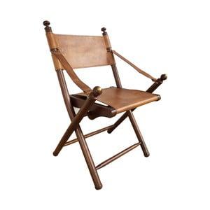 Skládací kožená židle s konstrukcí z teakového dřeva Orchidea Milano Safari