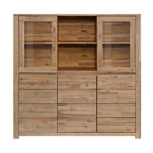 Vitrină cu 4 uși,  din lemn masiv de salcâm Støraa Walter, maro deschis