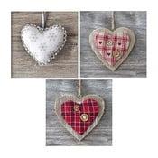 Set obrazů na skle Srdce, 20x20 cm, 3 ks