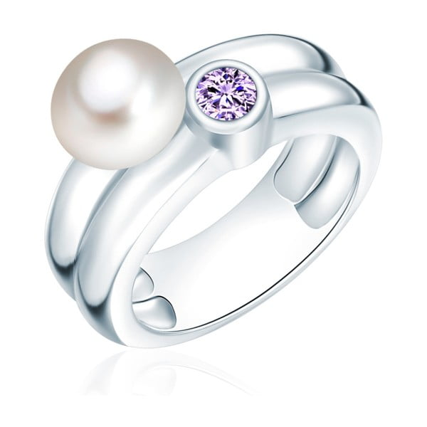 Prsten s perlou a zirkonem Nova Pearls Copenhagen Lynkeus, vel. 56