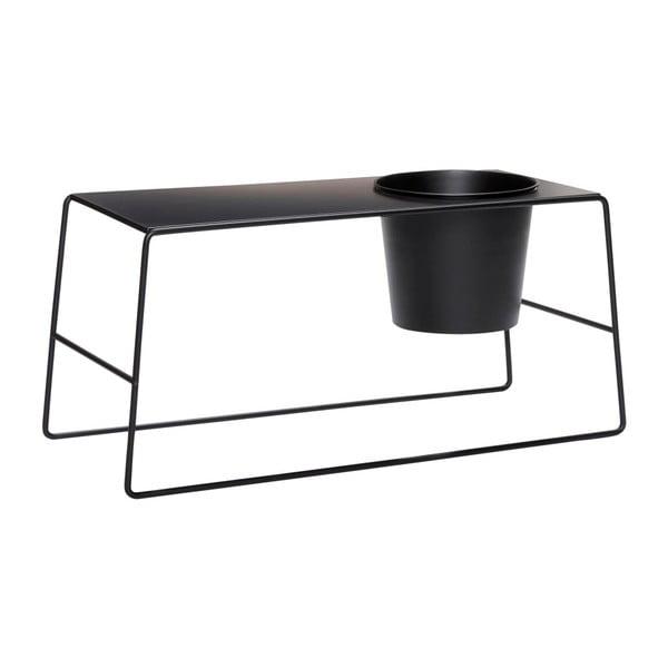 Czarny metalowy stolik z wbudowaną doniczką Hübsch Metal