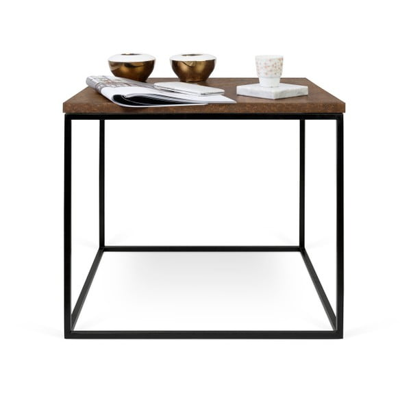 Hnědý konferenční stolek s černými nohami TemaHome Gleam, 50cm