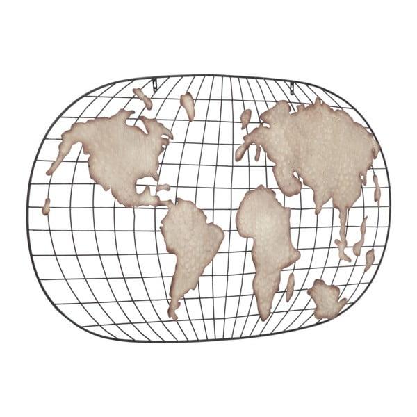 Kovová nástěnná dekorace Mauro Ferretti Globe Oval Dark