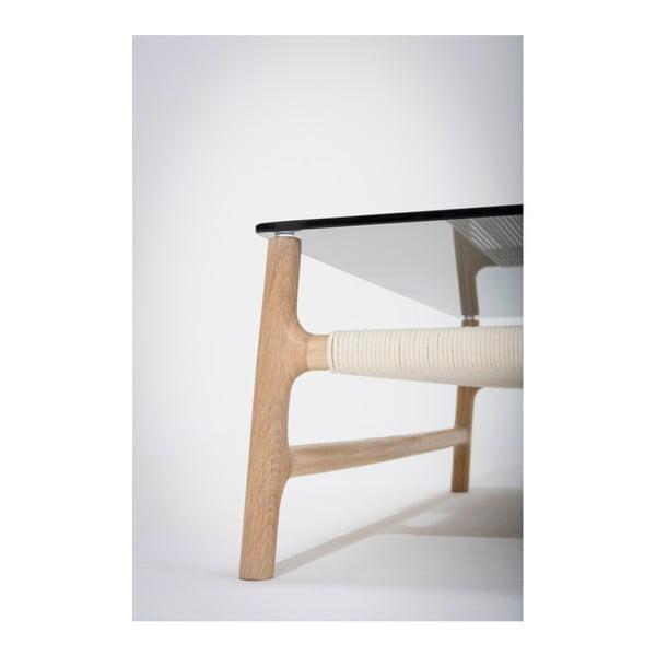 Konferenční stolek s konstrukcí z masivního dubového dřeva a šedou deskou Gazzda Fawn, šířka90cm