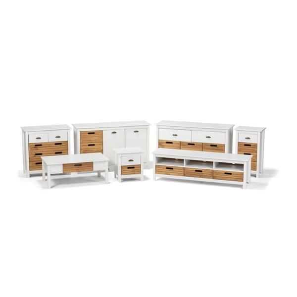 Bílá skříňka z borovicového dřeva se 4 šuplíky loomi.design Ibiza