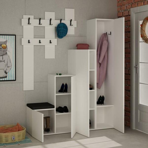Set dulap și cuier de perete Homitis Up, alb