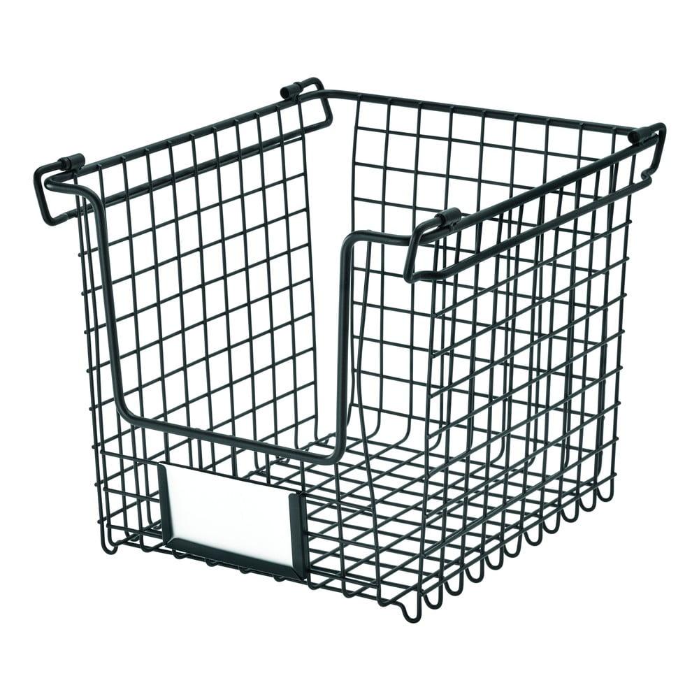 Černý kovový košík iDesign Classico, 25,5x22cm