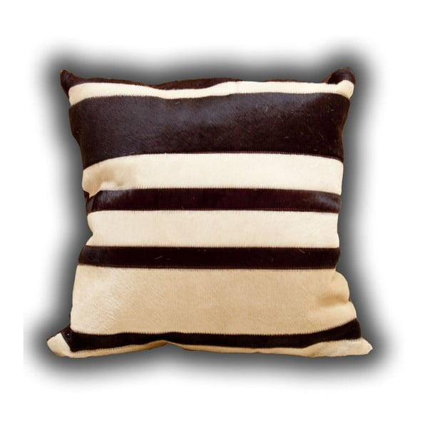 Polštář z pravé kůže Stripes, 45x45 cm