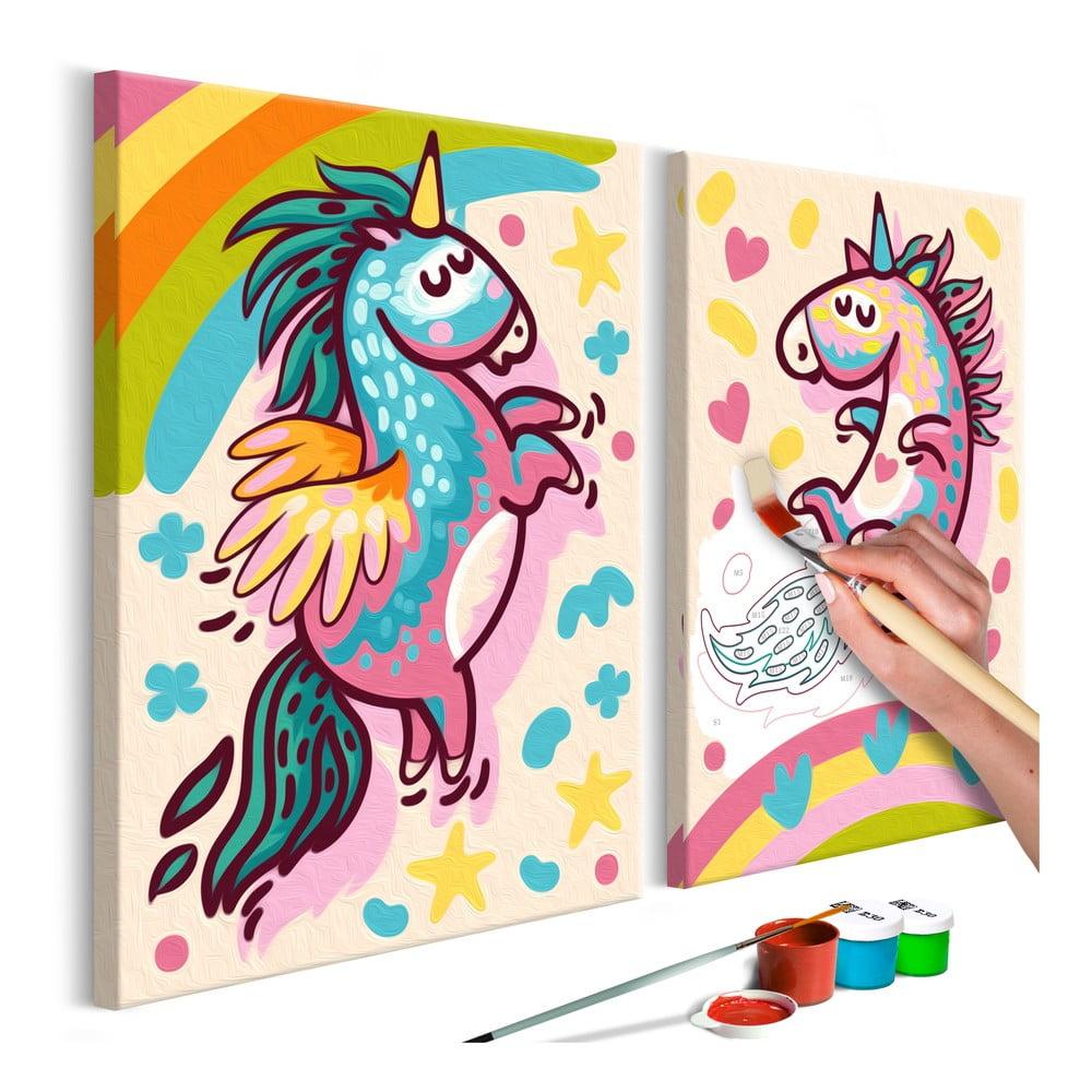 DIY set na tvorbu vlastního dvoudílného obrazu na plátně Artgeist Chubby Unicorns, 33 x 23 cm