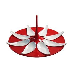 Červeno-bílý servírovací set na jednohubky Entity