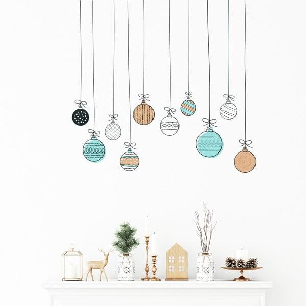 Nástenná samolepka Ambiance Christmas Balls, 40 × 40 cm