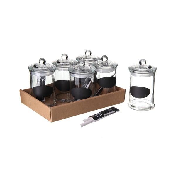 Set 6 recipiente pentru condimente cu marker, ermetic închise, Tiza, 300 ml