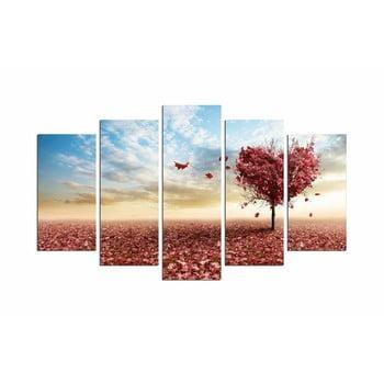 Tablou din mai multe piese Leaves From Heart, 110 x 60 cm de la Unknown