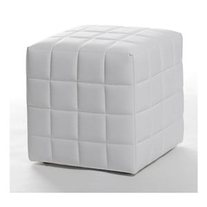Sedací puf Bakero White Squares z umělé kůže, 40x40 cm