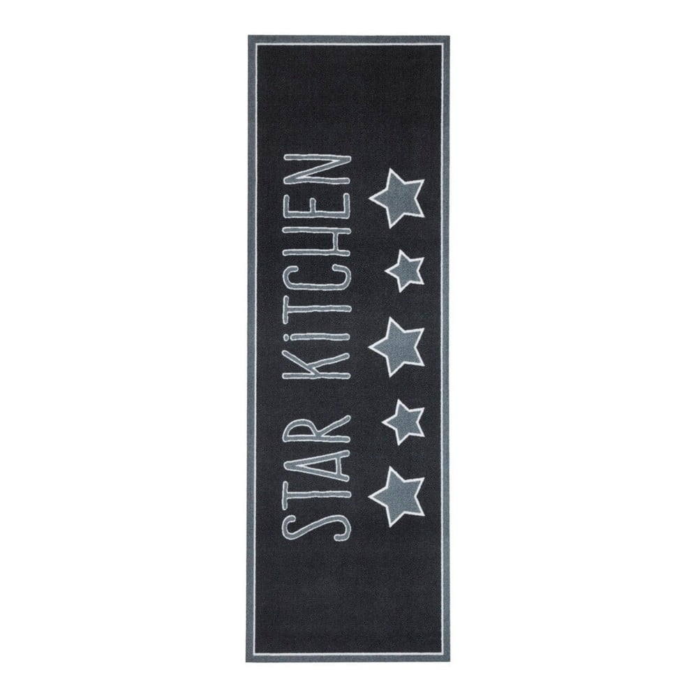 Černý kuchyňský koberec Zala Living Star, 50 x 150 cm