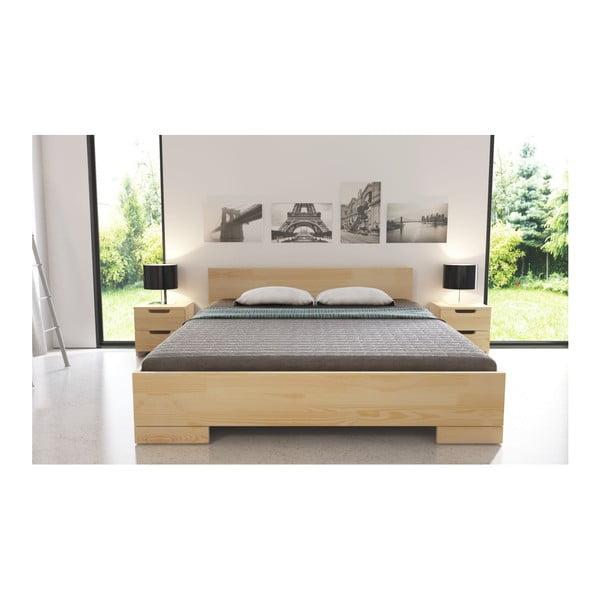 Pat dublu din lemn de pin, cu spațiu de depozitare, SKANDICA Spectrum, 200 x 200 cm