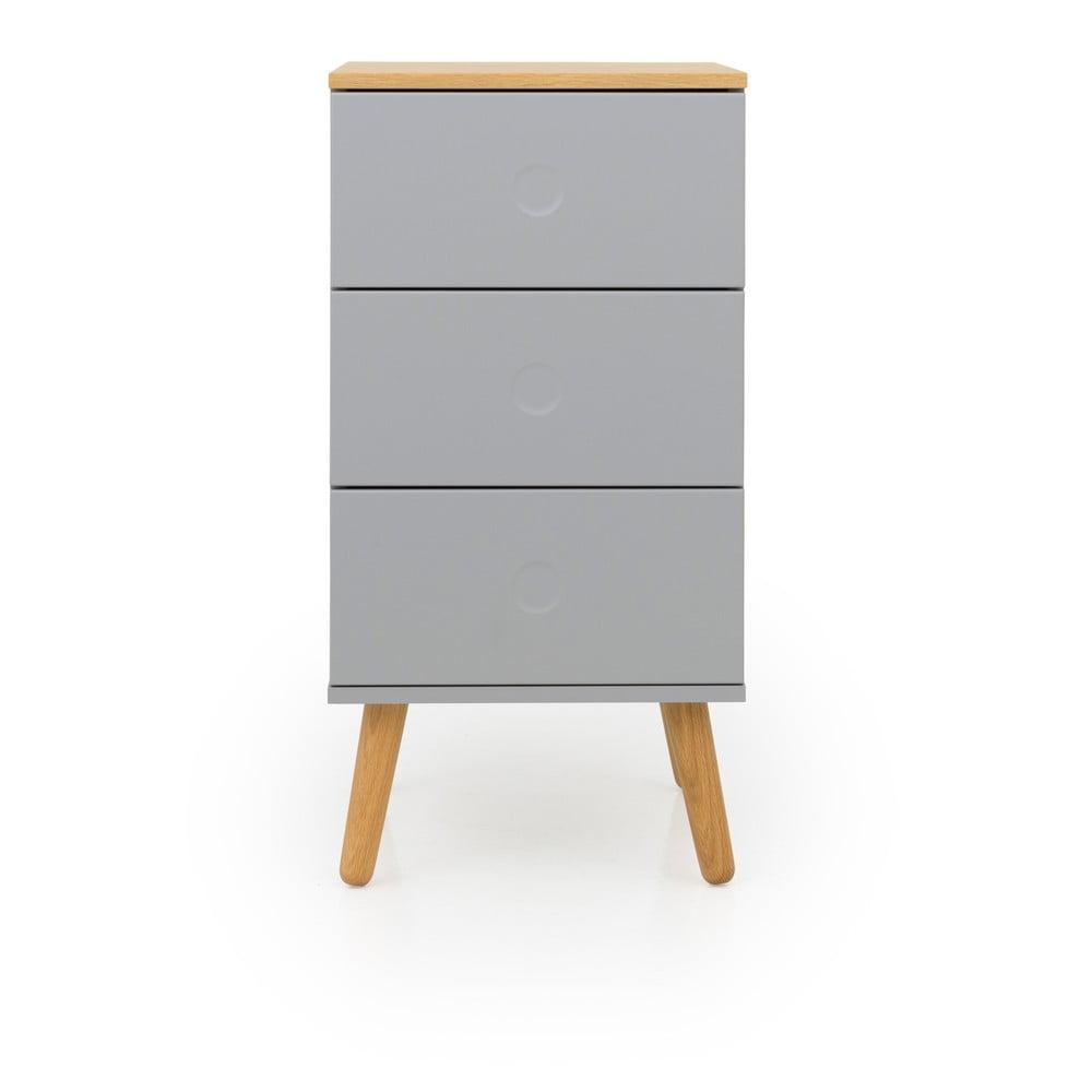 Šedá skříňka s detaily s nohami z dubového dřeva se 3 zásuvkami Tenzo Dot, šířka 40 cm