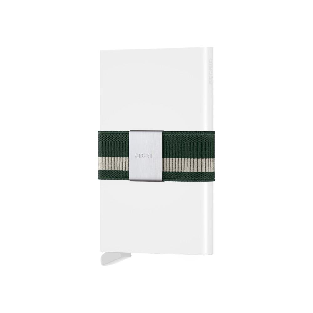 Bílá peněženka s pouzdrem na karty se zeleným páskem Secrid