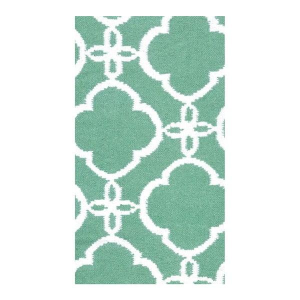 Vlněný koberec Geometry Retro Green & White, 160x230 cm