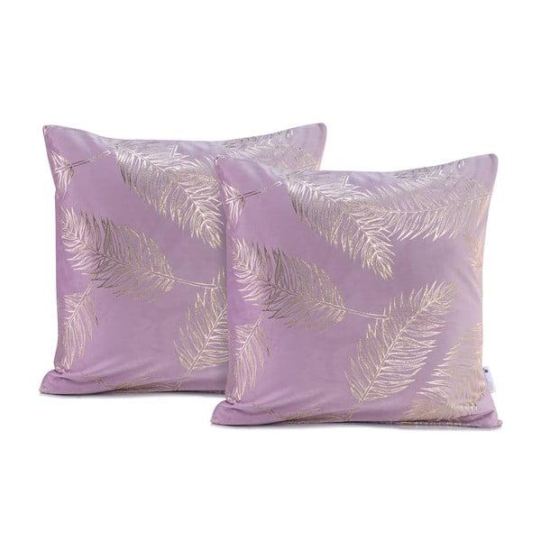 Sada 2 světle fialových povlaků na polštáře DecoKing Golden Leafes Lilac, 45 x 45 cm