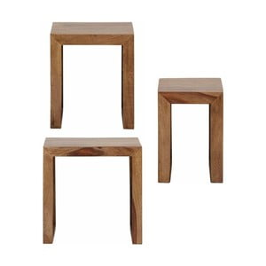 Sada 3 odkládacích stolků ze dřeva sheesham Støraa Leora