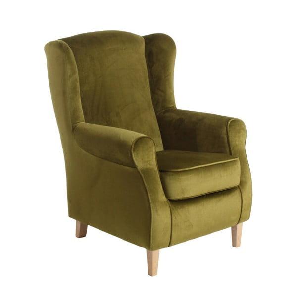 Olivově zelené křeslo ušák Max Winzer Lorris Velour Olive