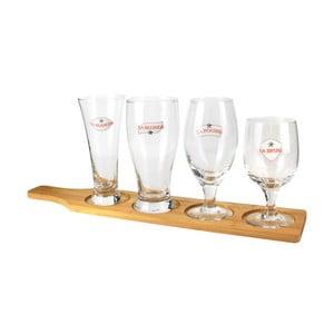 Sada 4 pivních sklenic na bambusovém podnosu Le Studio Beer Glasses Board