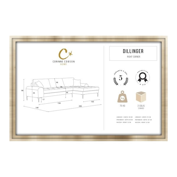 Set canapea maro cu șezlong pe partea dreaptă, 4 scaune taupe și saltea 160 x 200 cm Home Essentials